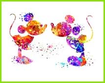 Mickey und Minnie Maus Druck abstrakte Aquarell Kinderzimmer Wand Kunst Disney Poster Disney Hochzeit Geschenk Home