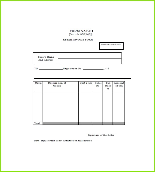 General Sales Receipt Template Useful Retail Invoice Template 12 Free Word Excel Pdf format Download