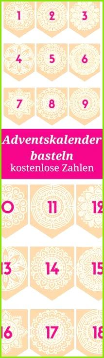 Adventskalender basteln DIY Zahlen zum Ausdrucken als kostenlose Vorlage Außerdem Ideen für Adventskalenderinhalte
