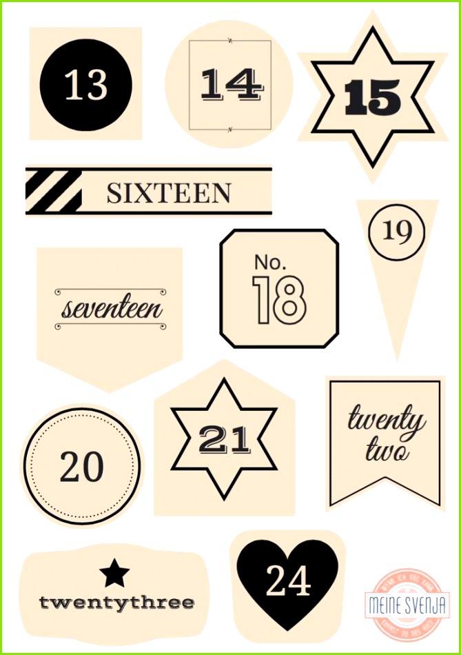 Adventskalender Zahlen zum Ausdrucken