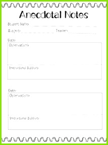 Anecdotal Notes Template
