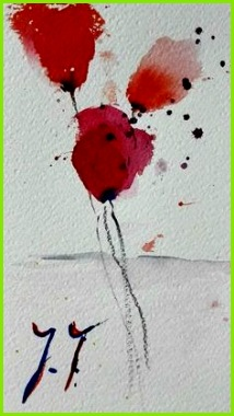 Aquarell Original abstrakte Blüten