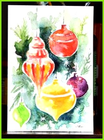 Original Watercolor Painting Still Life Painting Christmas Ornaments Colorful Christmas Decoratio Bunter Weihnachtsschmuck