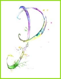 Letter P Watercolor Monogram Flower Lettering Watercolor Letter Print Watercolor Initial