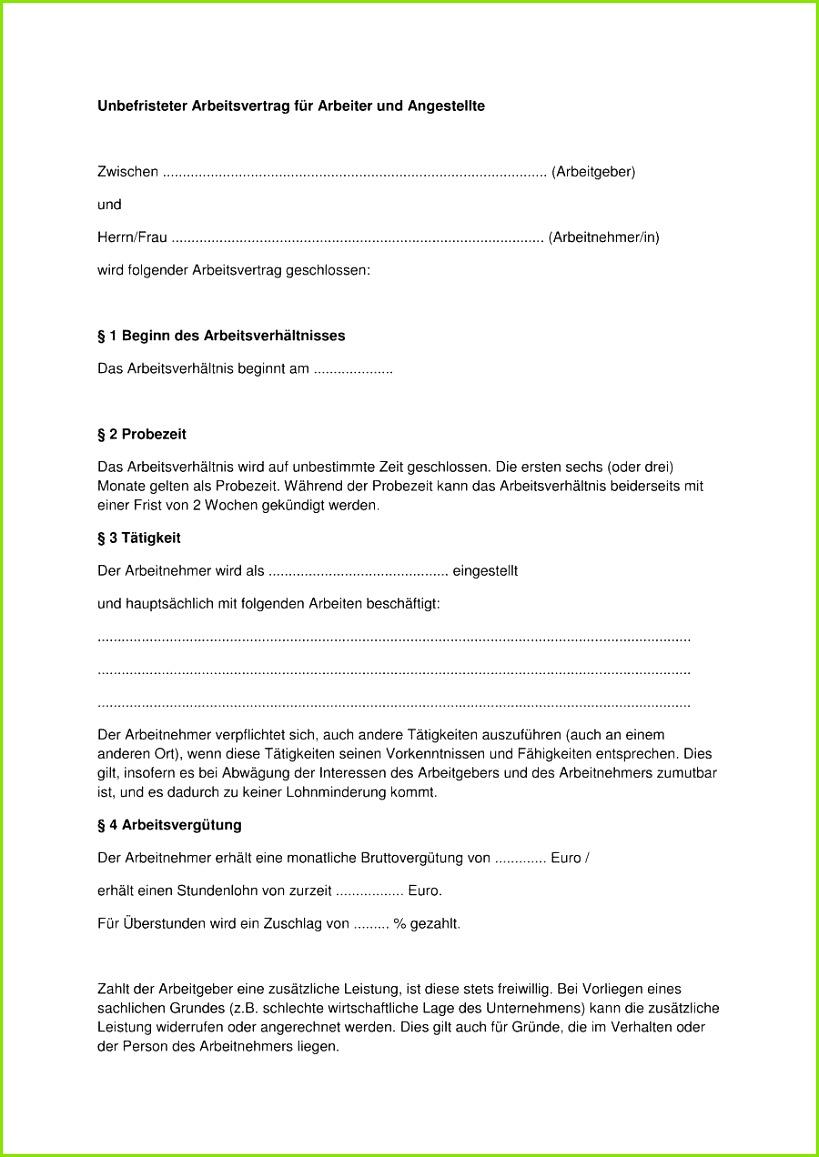 arbeitsvertrag muster teilzeit