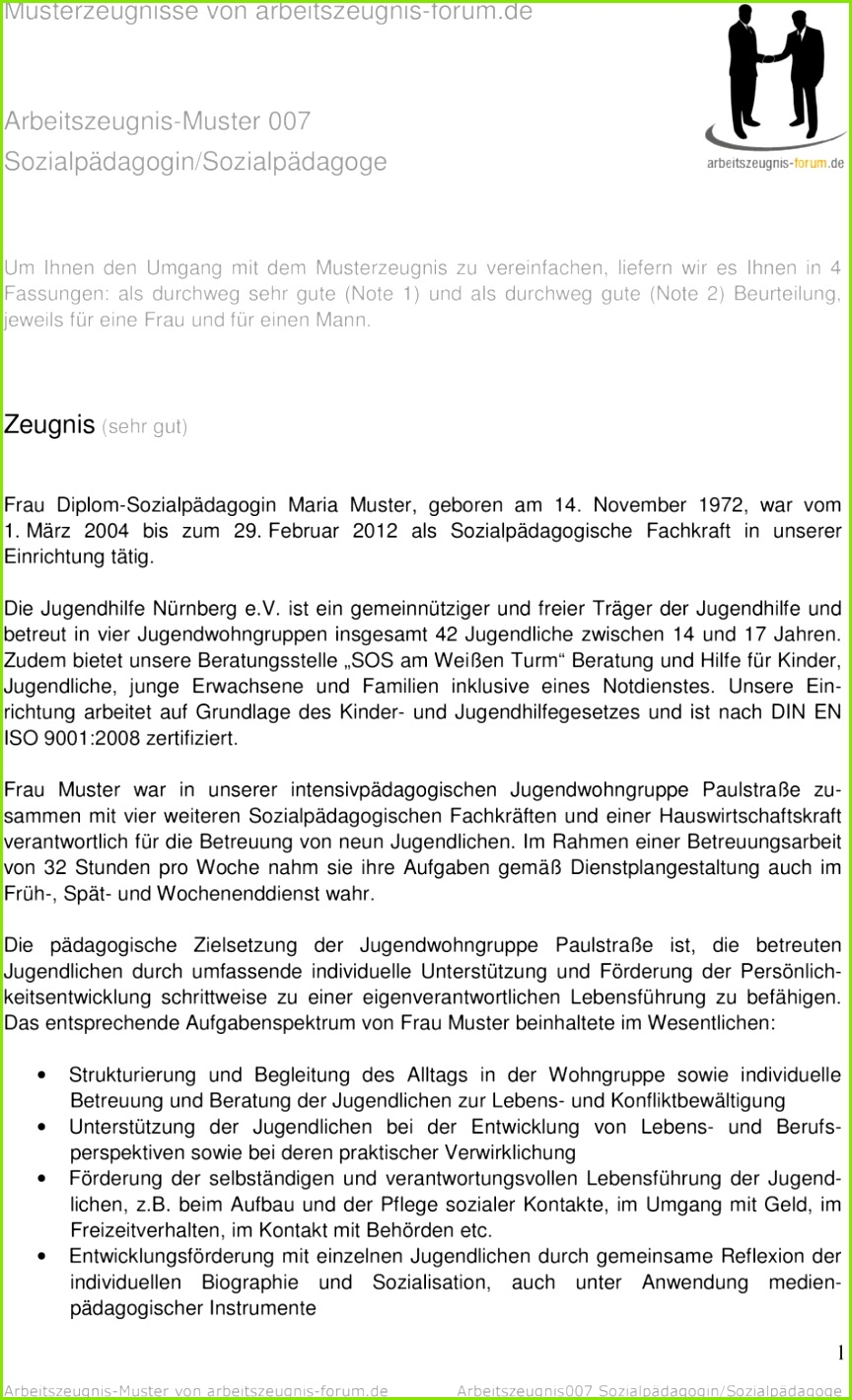 Besondere Bewerbungsanschreiben Vorlage Sozialpädagoge Arbeitszeugnis Muster Arbeitszeugnis Forum De