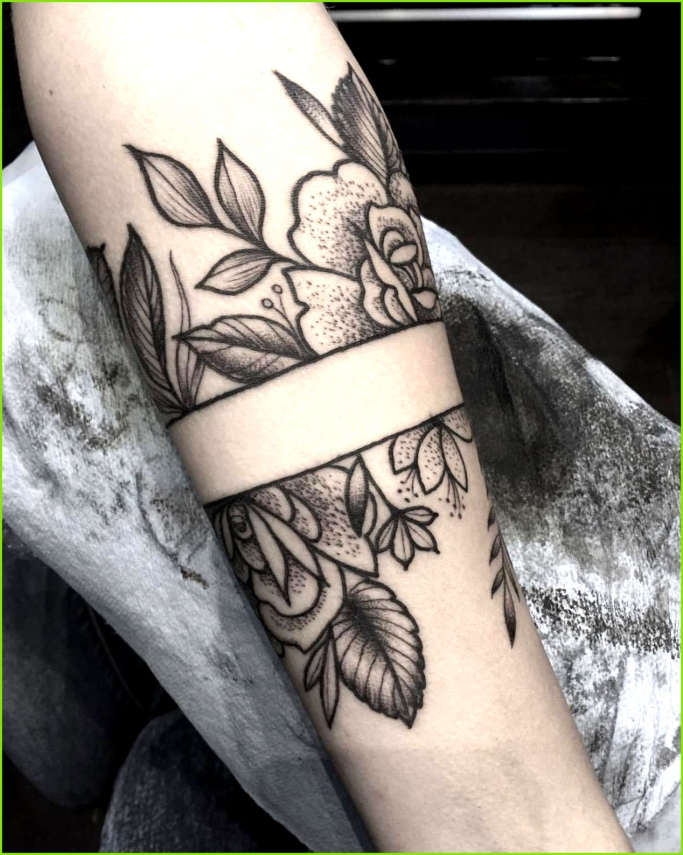Flower Arm Band Tattoo Artist Olivia Hogan Tattooer dog mom armtattoosforwomen