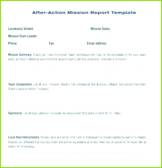 After Action Report Sample