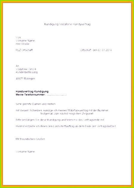 Austritt Aus Gemeinsamen Mietvertrag Vorlage 9 Vorlage Kundigung Vodafone Gdiiny