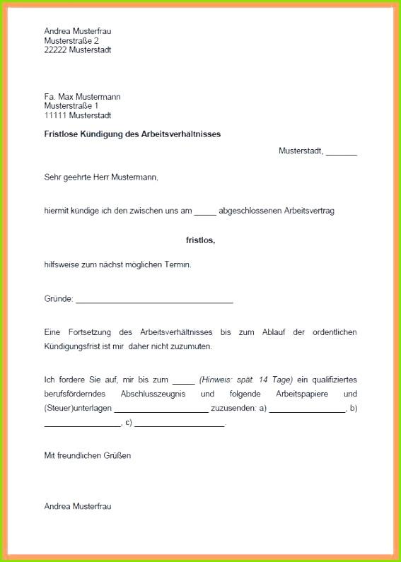 Austritt Aus Gemeinsamen Mietvertrag Vorlage 22 Hübsch Fristlose Kündigung Diebstahl Muster Foto