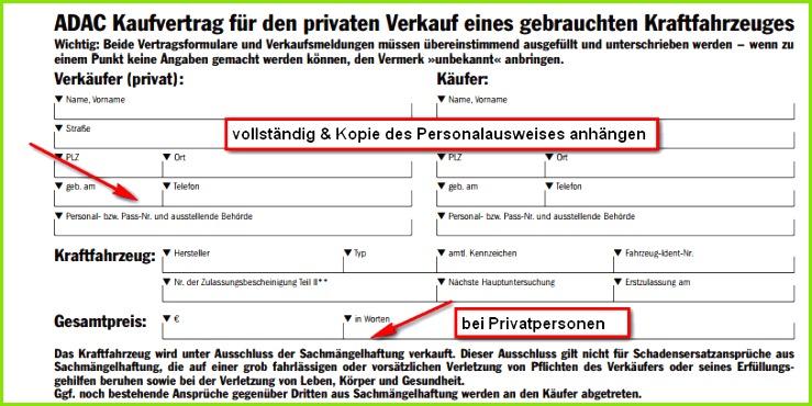 Auto Kaufvertrag privat Abschnitt persönliche Angaben & Kopie Personalausweis