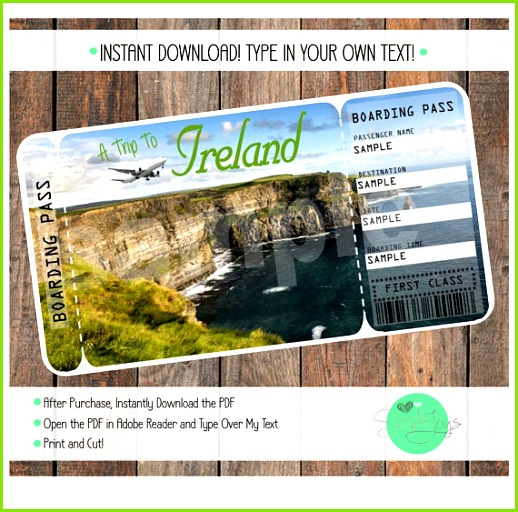 Printable Ticket to Ireland Boarding Pass Template Digital File You Fill and Print