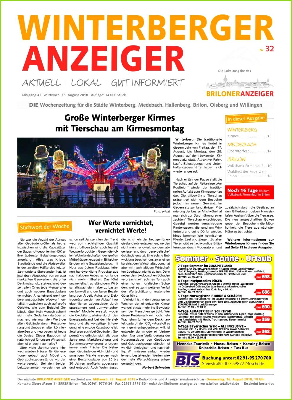 Winterberger Anzeiger Ausgabe vom 15 08 2018 Nr 32 by Brilon totallokal issuu
