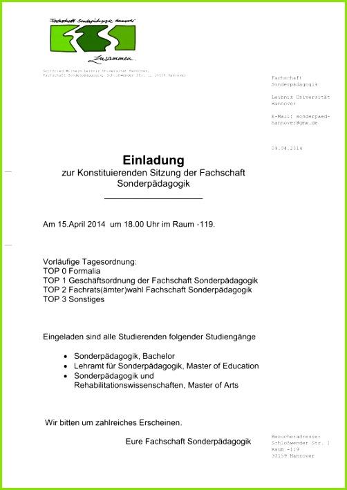 fizielle Einladung Vorlage Zur Konstituierenden Sitzung Im April 2014 Fachschaft