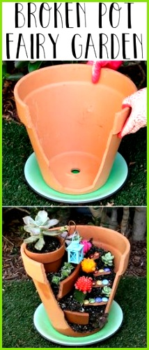 Give Your Broken Pots A Magical Boost By Turning Them Into Fairy Gardens Mais sacamama77 · basteln aus streichhölzern
