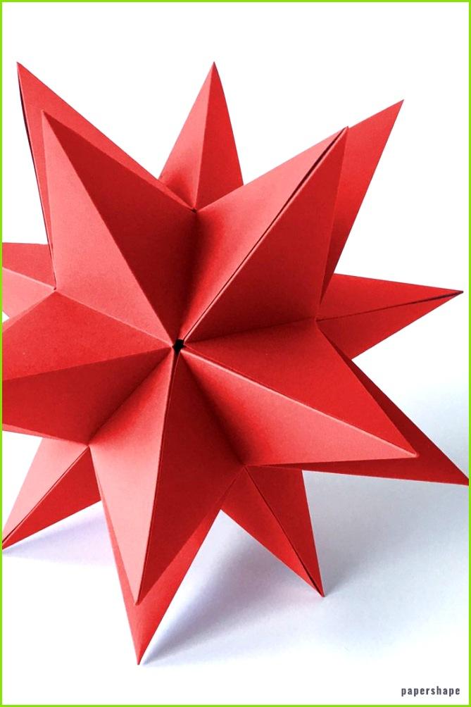 DIY Weihnachten einfachen 3d Stern aus Papier mit 20 Spitzen wie beim Bascetta Stern selber basteln papershape