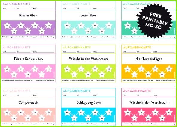 Aufgabenkarten für Kinder zum freien Download free printable Kinder BelohnungssystemFortschrittAusdruckenKinder