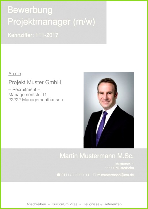 Deckblatt Muster kostenlos für Projektmanager Produktmanager leitende Angestellte Führungskräfte und andere Managerberufe