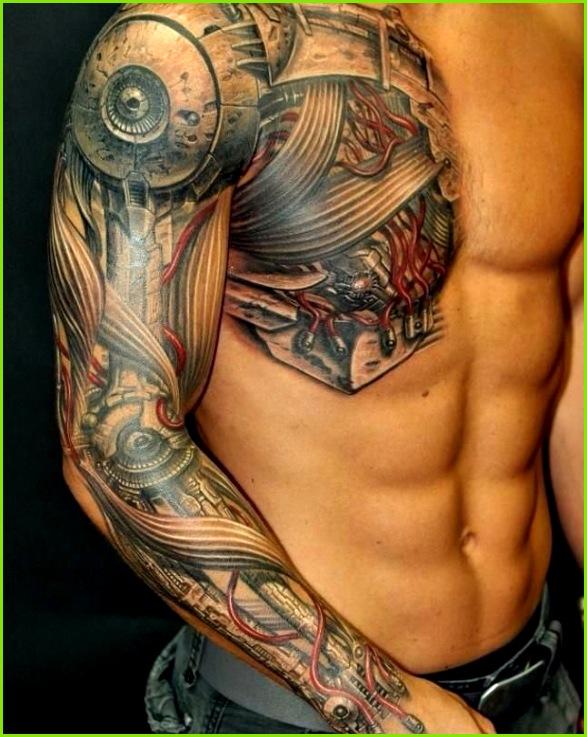 Männer lassen sich ein Biomechanik Tattoo meist an der Wade am Oberarm am ganzen Arm am