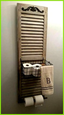Old distressed shutter Bathroom with basket Home Shutters Window Shutters Decor Country