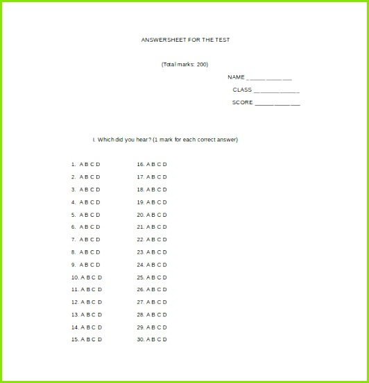 answer sheet for the test word template free