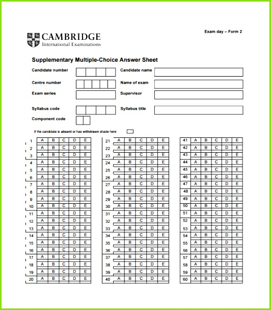 Supplementary Multiple Choice Answer Sheet Example