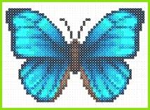 Bügelperlen Vorlage Blauer Schmetterling Perler Beads Perler Bead Art Mini Hama Beads