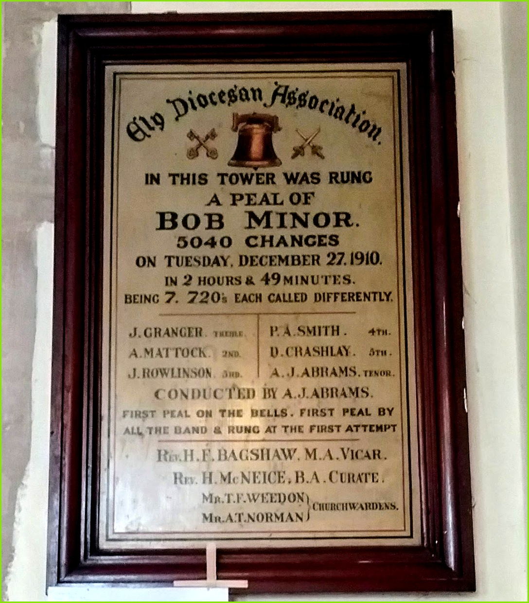 Bob Minor peal plaque in SS Peter and Paul s Church Chatteris Cambridgeshire