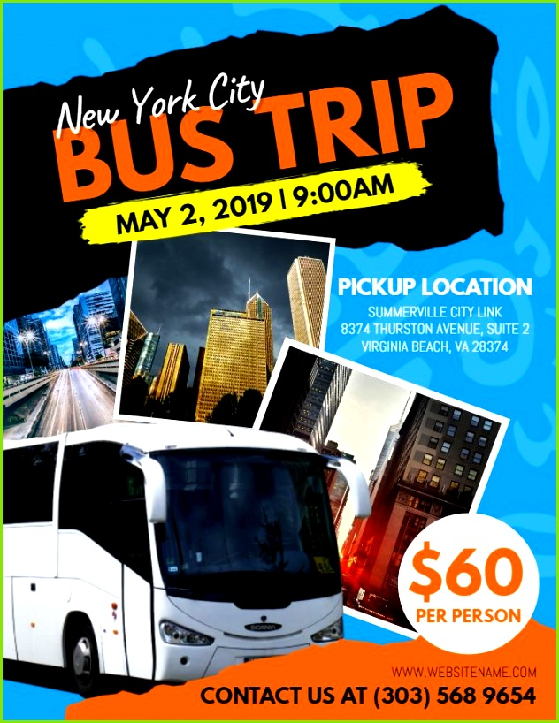 Bus trip travel pamphlet social media graphic design template blue and black