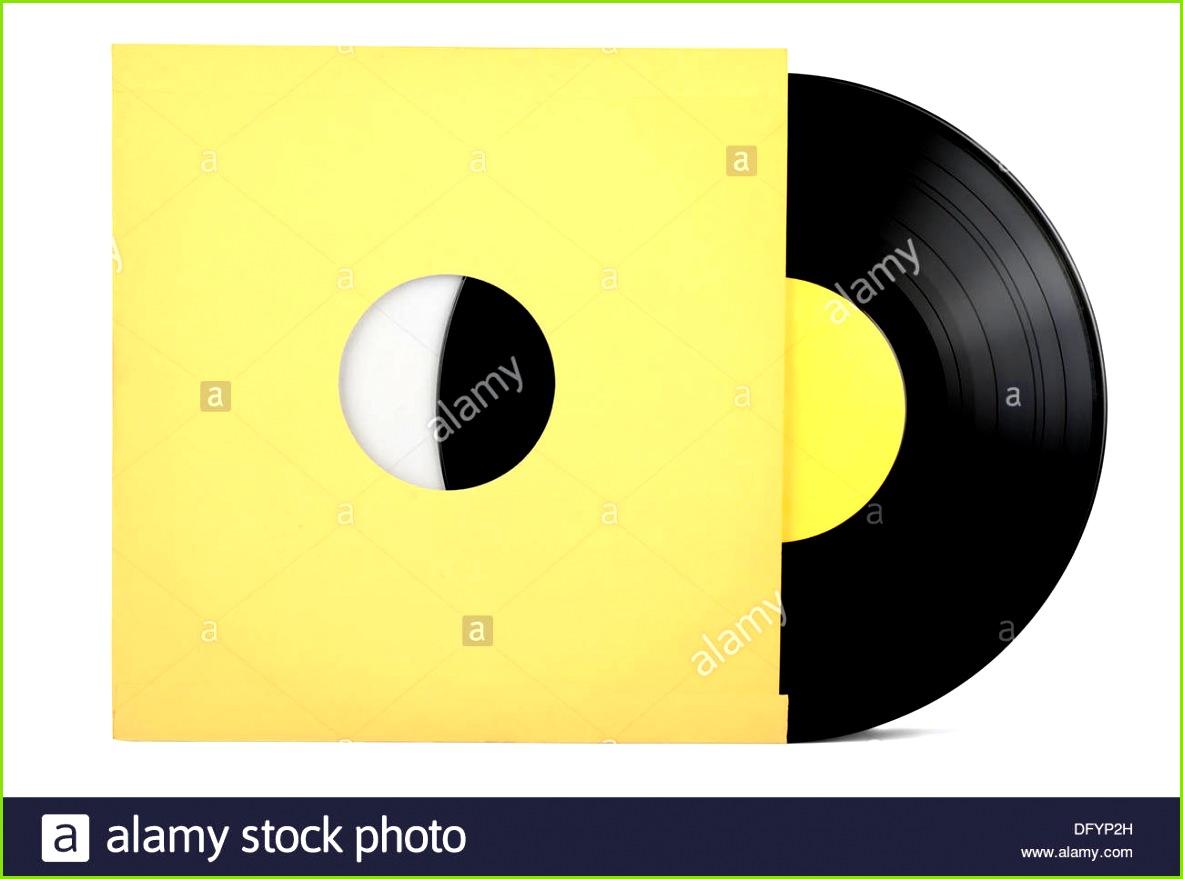 Vinyl Schallplatte in Papierhülle isoliert auf weiss Stockbild
