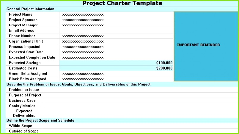 Project Charter Template Excel ProjectTactics