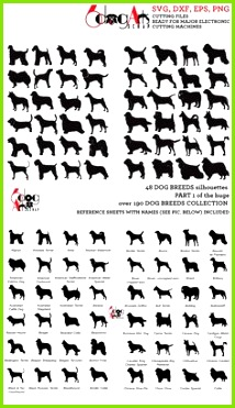 Dog Breed Silhouettes Vector Digital Cut Files Svg Dxf Eps Silhouette SCAL Cricut Printable Down