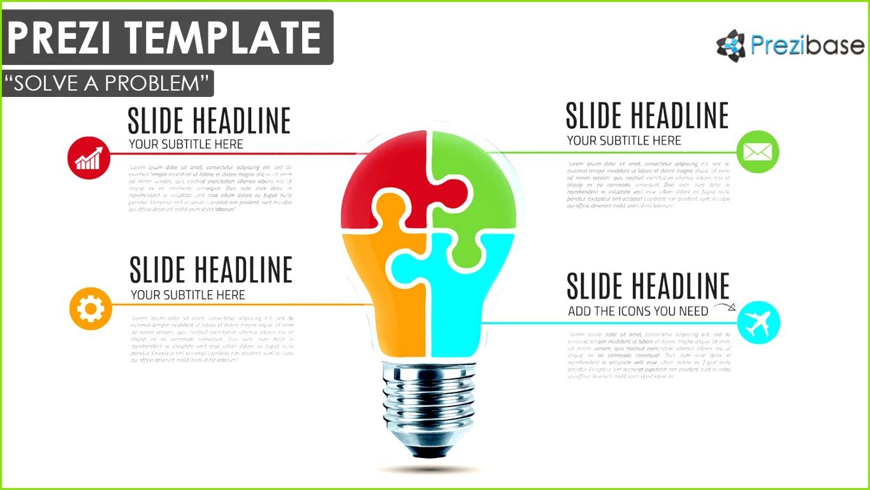 jigsaw diagram solve problem light bulb prezi template