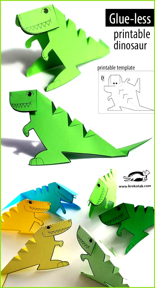 FREE printable glue less dinosaur template 3dprinterchildren