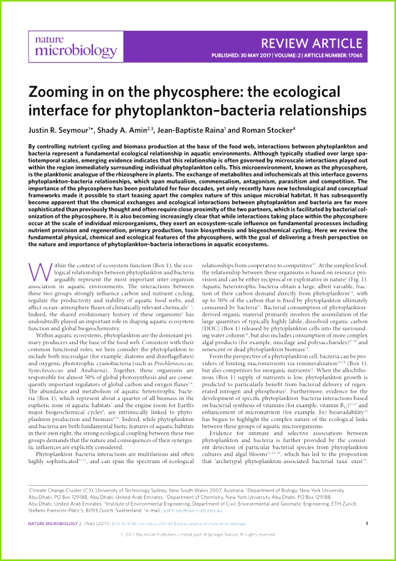PDF Zooming in on the phycosphere The ecological interface for phytoplankton bacteria relationships
