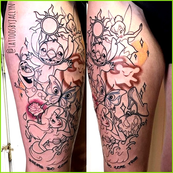 ☾♡ᘉᗩᗰᔕᗩⅼ☼ ☾♡ Disney Sleeve Tattoos Disney Thigh Tattoo Disney