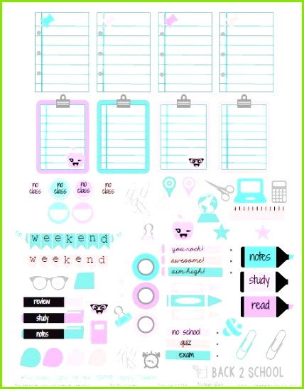 Back 2 School Planner Stickers Free printable Life planner Pinterest