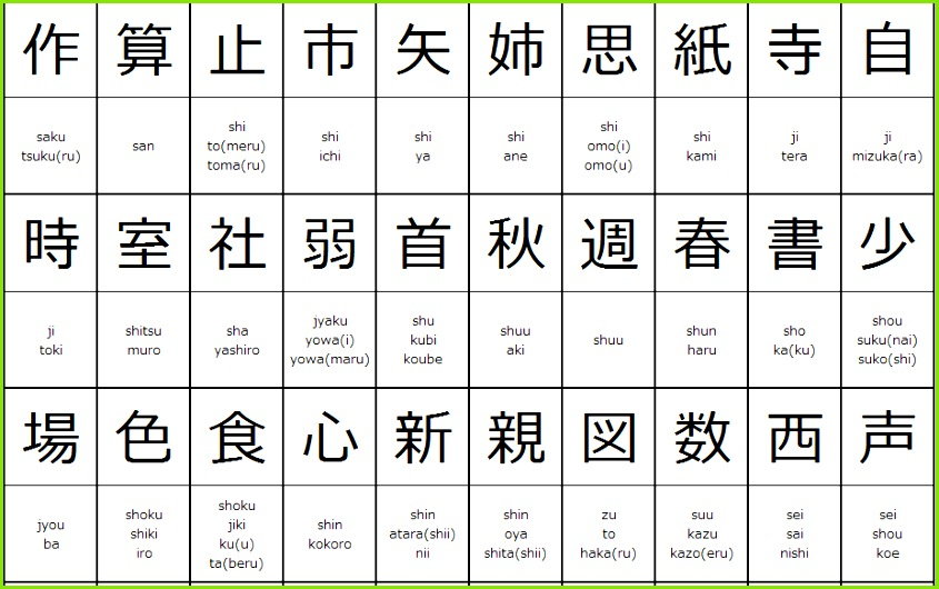 kanji chart for 2nd grade od elementary school students3