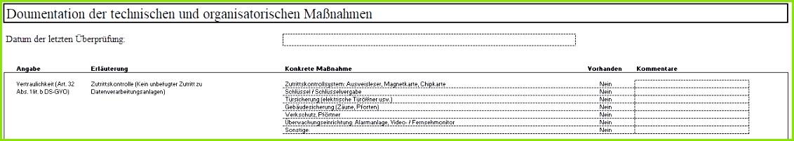 Technische und Organisatorische Maßnahmen Excel Vorlage
