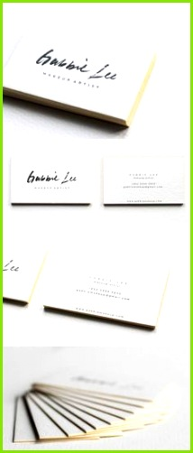 Neon Yellow Edge Painting And Beautiful Calligraphy A Letterpress Business Card For A Makeup Artist Visitenkarten VorlagenCoole