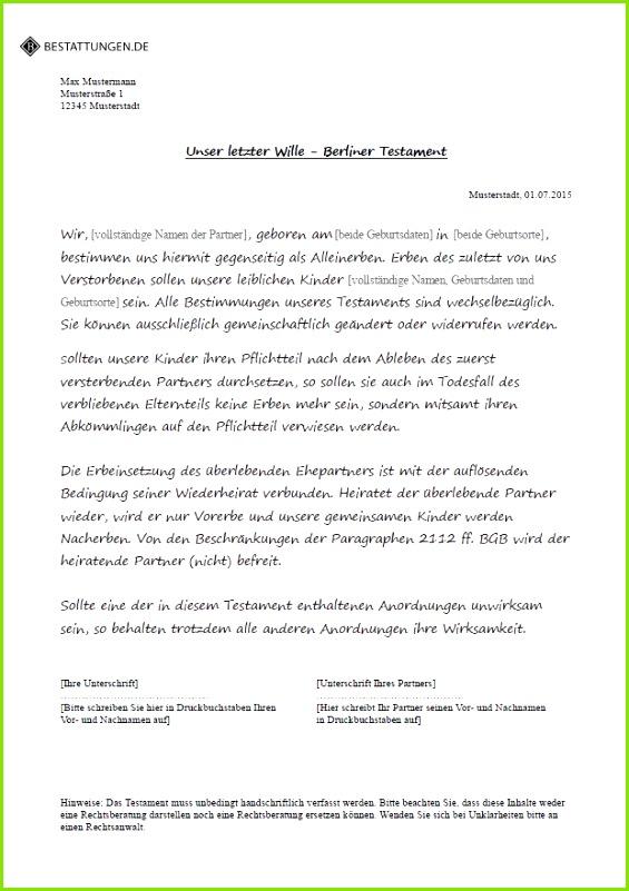 Muster eines Berliner Testaments