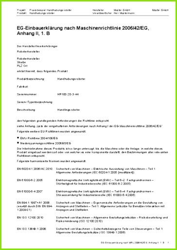 EG Einbauerklärung nach Maschinenrichtlinie 2006 42 EG Anhang II 1