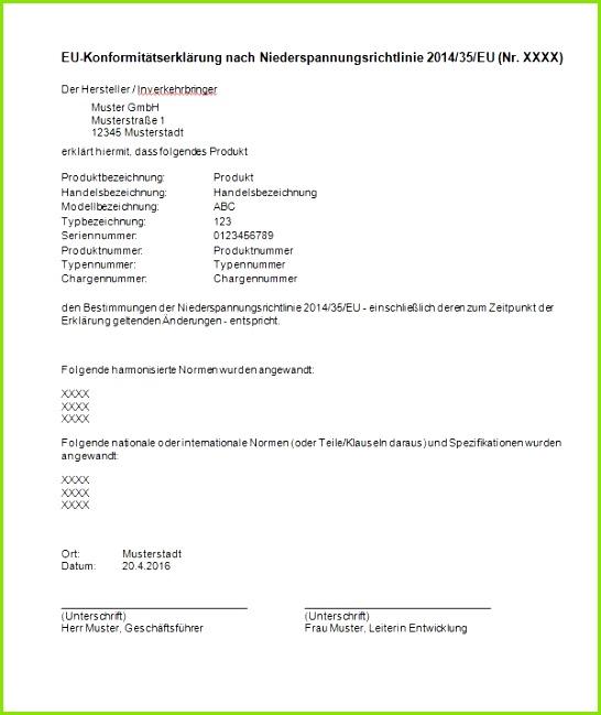 EU Konformitätserklärung nach Niederspannungsrichtlinie 2014 35 EU