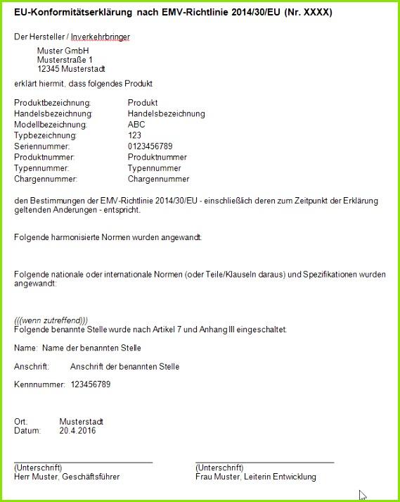 Muster einer EU Konformitätserklärung nach EMV Richtlinie 2014 30 EU