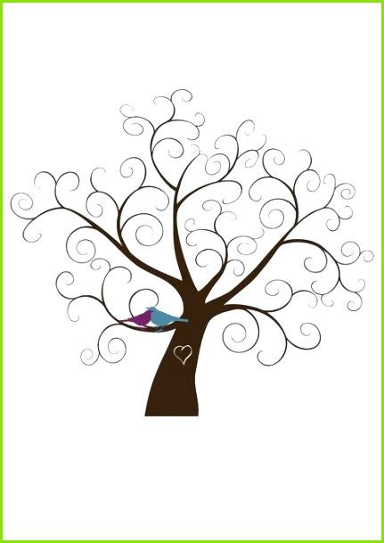 fingerabdruck baum vorlage äste verschnörkelt zweige romantisch Plantilla árbol de huellas