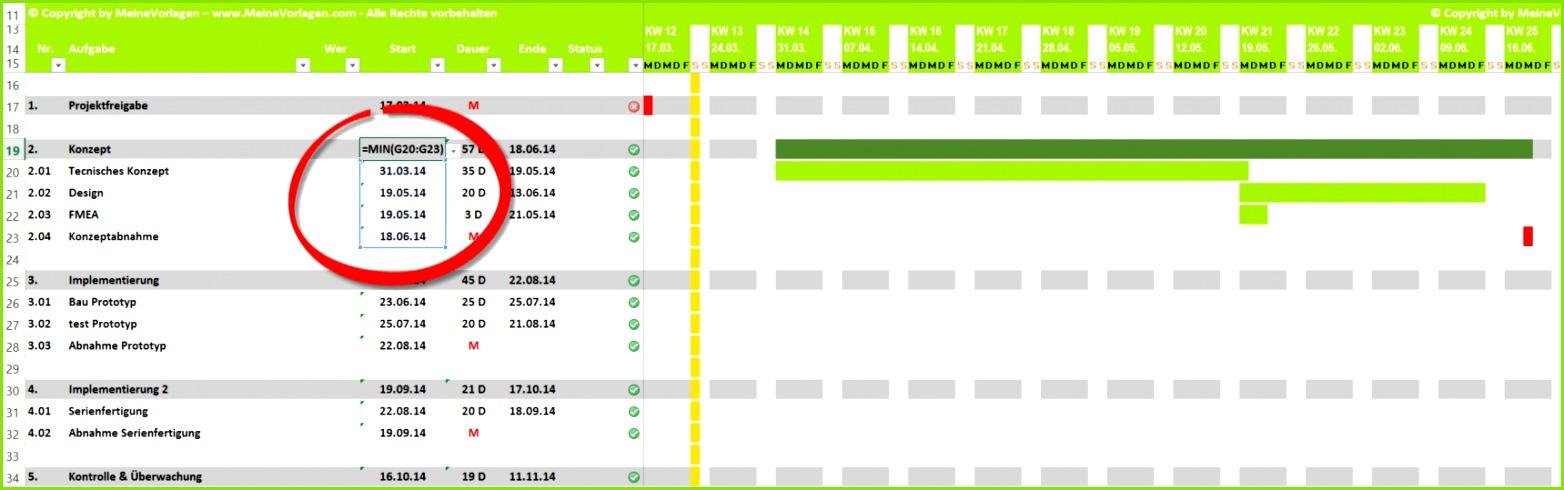 Projektplan Hauptaufgabe mit abhängiger Startdatum