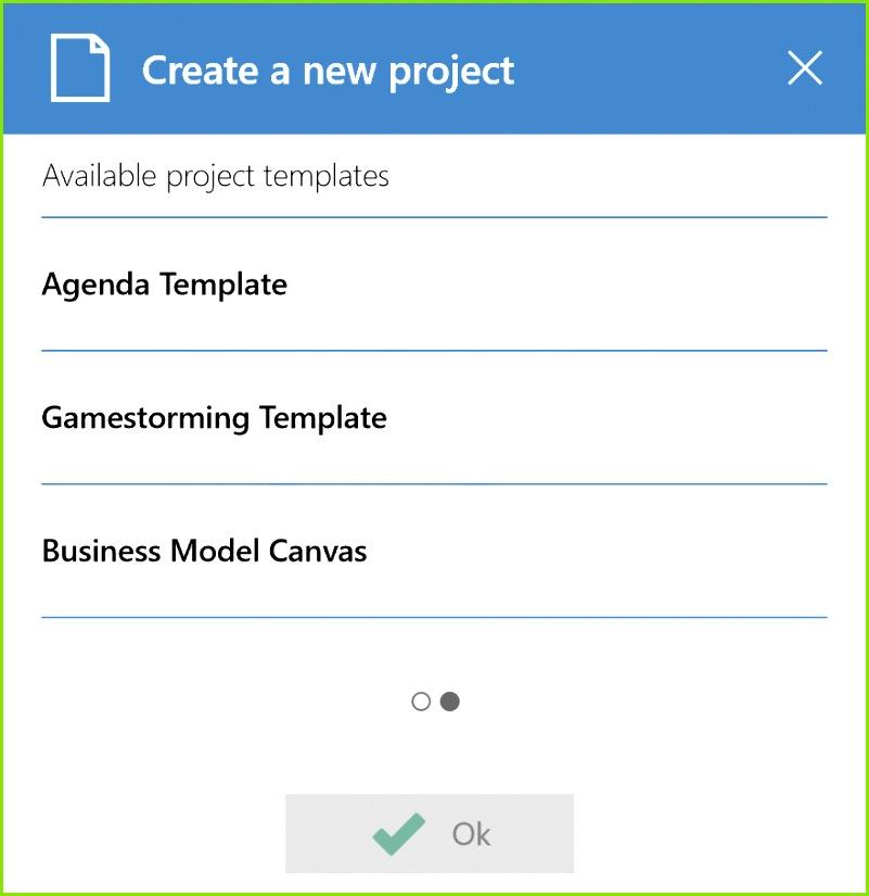 Um eine Projektvorlage zu laden klicke einfach auf Neues Projekt und wische nach links um Liste der verfügbaren Vorlagen zu sehen