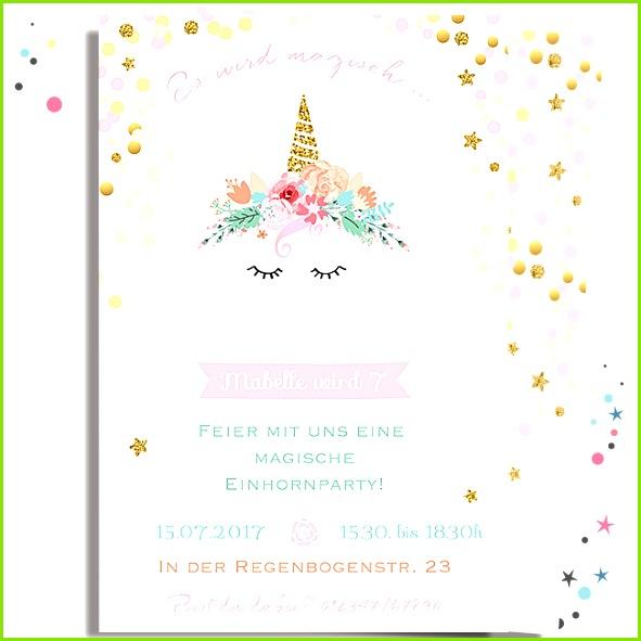 Einladung Einhorn magisch pastell