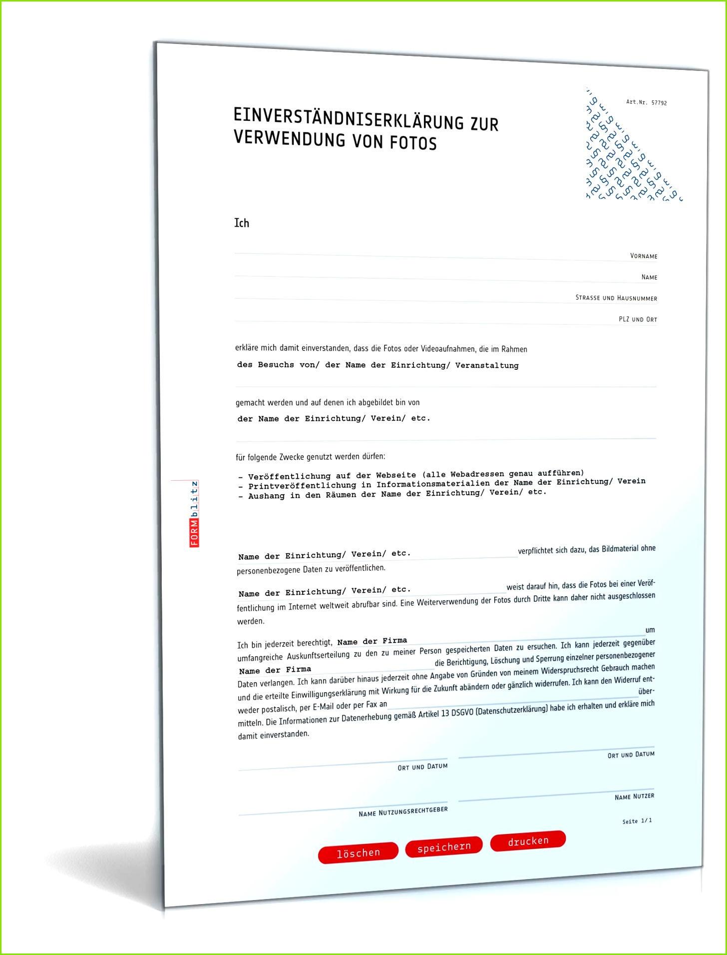 Einwilligung Verwendung Fotos DSGVO