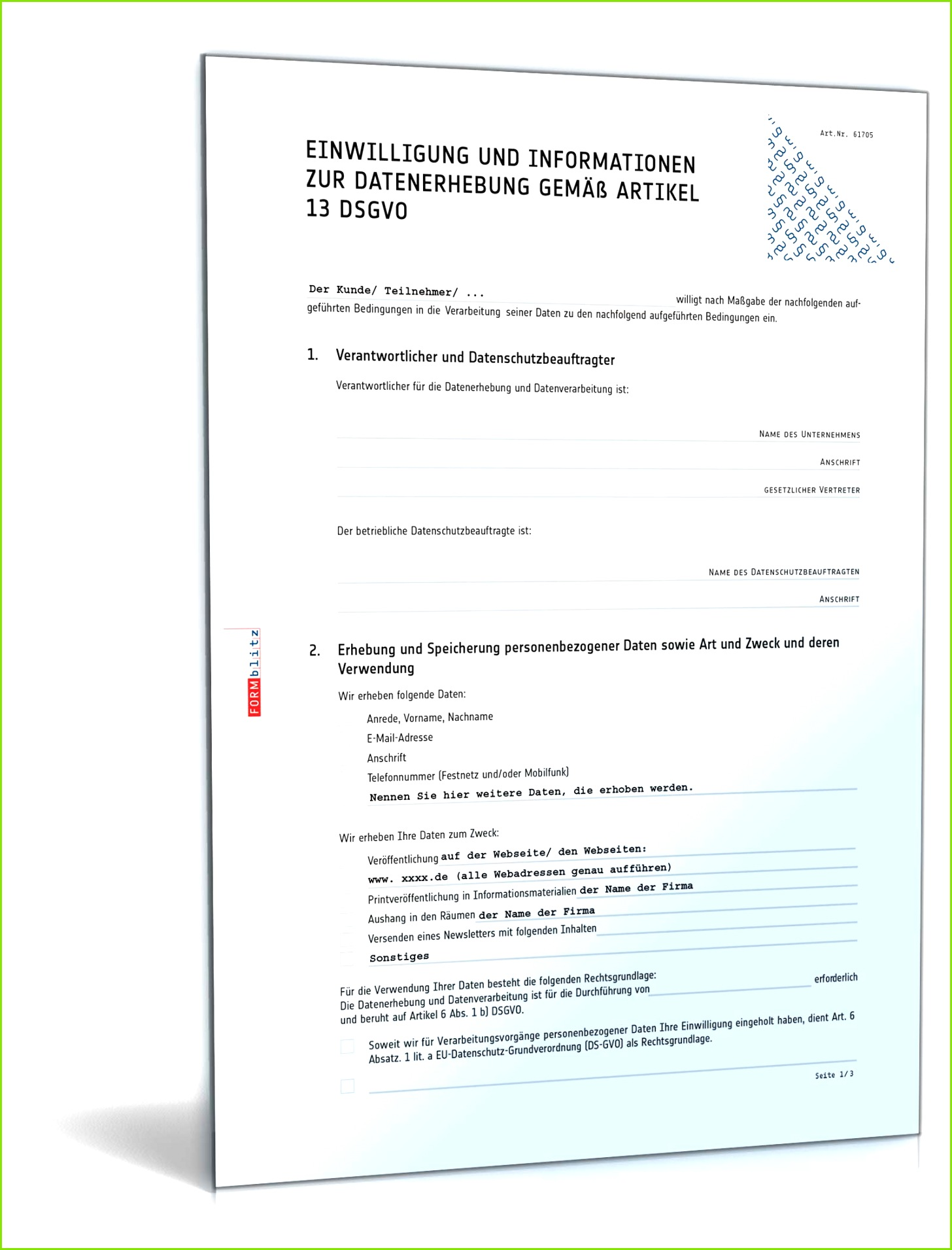 Einwilligungserklärung zur Datennutzung gemäß DSGVO